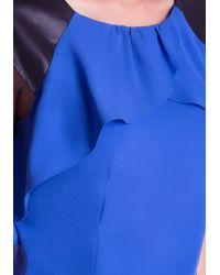 Bebe - Blue Ruffle Trim Top - Lyst