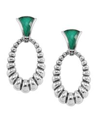 Lagos - Metallic Venus Fluted Crystal & Malachite Doublet Drop Earrings - Lyst