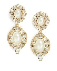 Kate Spade | Natural Fine Day Crystal And Faux Pearl Chandelier Earrings | Lyst