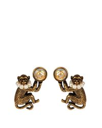 Gucci - Metallic Pearl-effect And Brass Monkey Earrings - Lyst