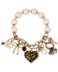 Betsey Johnson | White Gold-Tone Leopard Heart Charm Stretch Bracelet | Lyst
