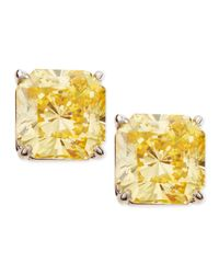 Fantasia by Deserio - Metallic Canary Cubic Zirconia Stud Earrings - Lyst