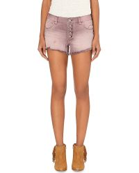 Free People | Pink Runaway Cut-off Denim Shorts | Lyst