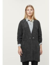 Violeta by Mango - Gray Buckle Wool Coat - Lyst