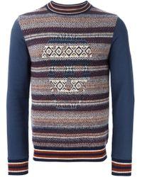 Alexander McQueen - Blue Skull Intarsia Sweater for Men - Lyst
