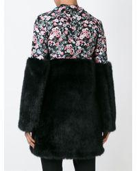 Giamba - Black Faux Fur Panel Coat - Lyst