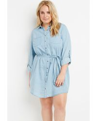 Forever 21 - Blue Plus Size Belted Chambray Shirt Dress - Lyst