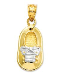Macy's | Metallic 14k Gold And Rhodium Charm, Baby Boy Shoe Charm | Lyst