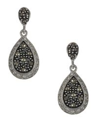Lord & Taylor | Black Sterling Silver And Marcasite Teardrop Earrings | Lyst