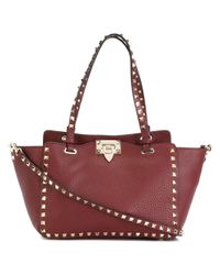Valentino - Red 'rockstud' Trapeze Tote - Lyst
