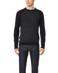 Native Youth - Blue Cable Contrast Sleeve Knit Sweater for Men - Lyst
