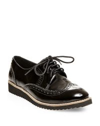 Steven by Steve Madden | Black Steffan Leatherette Oxfords | Lyst