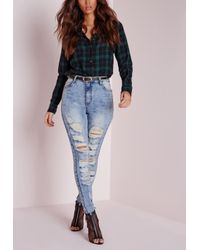 Missguided - Sinner High Waisted Extreme Ripped Skinny Jeans Mid Blue - Lyst