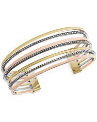 Michael Kors | Metallic Tri-Tone Clear Cuff Bracelet | Lyst