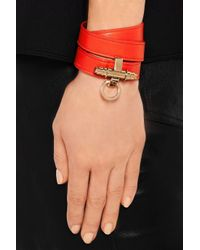 Givenchy - Orange Obsedia Bracelet In Tomato-Red Leather - Lyst
