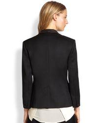 Rag & Bone - Black Harper Leather-Trimmed Wool Tuxedo Blazer - Lyst