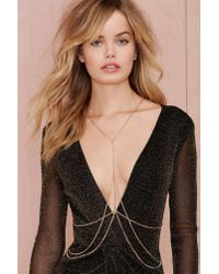 Nasty Gal | Metallic Heart Of Gold Body Chain | Lyst