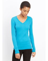 VINCE | Blue Skinny Rib V-neck Long Sleeve Sweater | Lyst