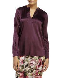 Les Copains - Purple Aubergine Split V-Neck Silk Blouse - Lyst