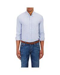 Brunello Cucinelli - Blue Men's Micro-gingham Shirt for Men - Lyst