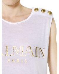 Balmain - White Logo Printed Cotton T-Shirt - Lyst