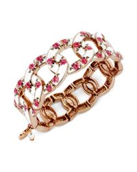 Betsey Johnson | Pink Floral Printed Stretch Bracelet | Lyst