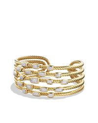 David Yurman | Metallic Confetti Wide Cuff Bracelet With Diamonds In Gold | Lyst