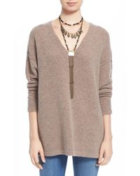 Free People | Brown 'softly' V-neck Sweater | Lyst