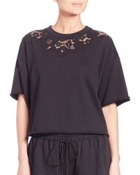 3.1 Phillip Lim - Black French Terry Boxy Tee - Lyst