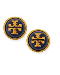 Tory Burch | Blue Melodie Logo Stud Dome Earrings | Lyst