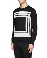 Alexander McQueen - Black Square Intarsia Wool Sweater for Men - Lyst