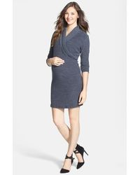 Japanese Weekend | Gray Surplice Maternity/nursing Dress | Lyst
