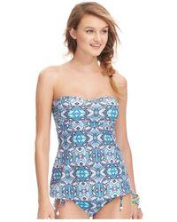 Jessica Simpson - Blue Printed Tankini Top - Lyst