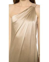 Kaufman Franco - Metallic One Shoulder Silk Gown Burlap - Lyst