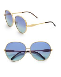 Wildfox | Metallic Fleur 63mm Oval Sunglasses | Lyst