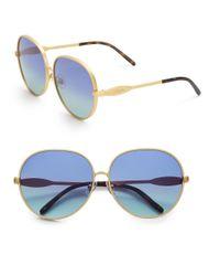 Wildfox - Metallic Fleur 63mm Oval Sunglasses - Lyst