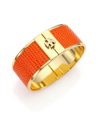 Tory Burch | Orange Skinny Lizard-Embossed Leather-Inlay Cuff Bracelet | Lyst