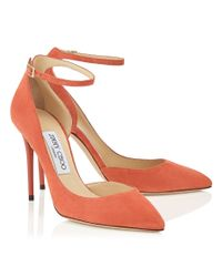 Jimmy Choo - Orange Lucy 100 Agate Suede Pointy Toe Pumps - Lyst
