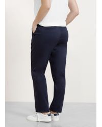 Violeta by Mango - Blue Belt Cotton-blend Trousers - Lyst
