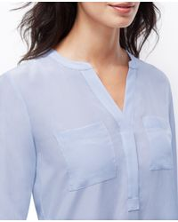 Ann Taylor - Blue Split Neck Silk Tunic - Lyst