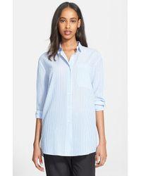 ATM - Blue Candy Stripe Boyfriend Shirt - Lyst