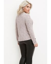 Forever 21 - Purple Plus Size Ribbed Knit Marled Top - Lyst