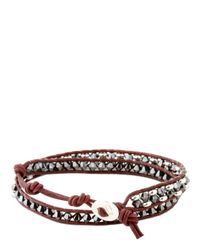 Colana | Metallic Leather Wrap Bracelet With Swarovski | Lyst