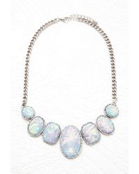 Forever 21 | Blue Faux Stone Statement Necklace | Lyst