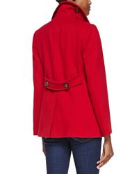 Fleurette - Red Double-Breasted Wool Peacoat - Lyst