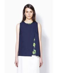 3.1 Phillip Lim - Blue Overlapping Cutaway Tank With Printed Underlayer - Lyst