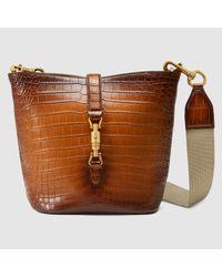 c6bcc5f2fde Gucci Jackie Soft Crocodile Bucket Bag in Brown - Lyst