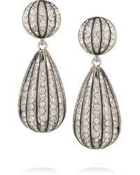 Kenneth Jay Lane | Metallic Rhodium-plated Crystal Clip Earrings | Lyst