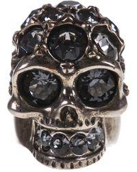 Alexander McQueen - Gray Embellished Skull Ring - Lyst