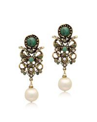 Alcozer & J - Metallic Golden Brass Glass Pearl and Emerald Earrings - Lyst
